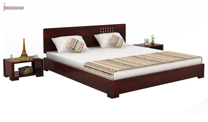 Damon Low Floor Double Bed (Queen Size, Mahogany Finish)-2