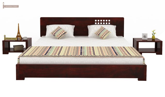 Damon Low Floor Double Bed (Queen Size, Mahogany Finish)-3