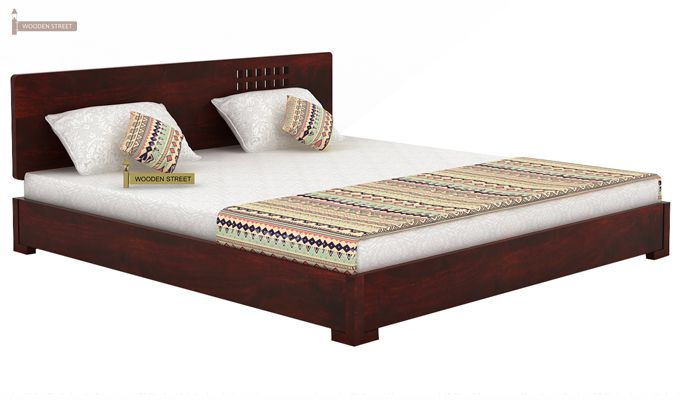Damon Low Floor Double Bed (Queen Size, Mahogany Finish)-4
