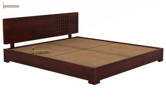 Damon Low Floor Double Bed (Queen Size, Mahogany Finish)-6