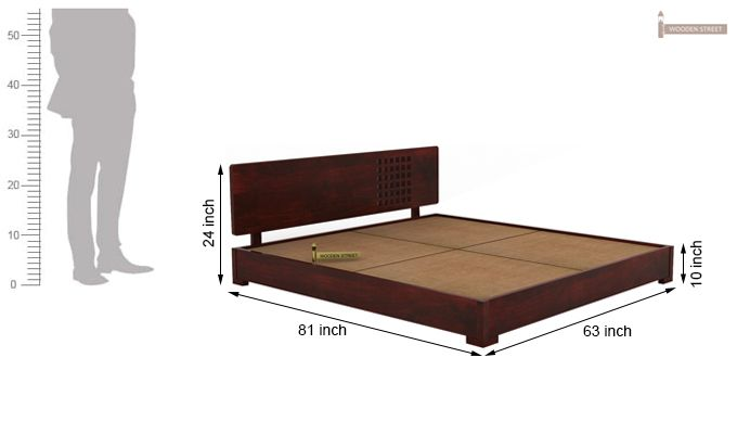 Damon Low Floor Double Bed (Queen Size, Mahogany Finish)-7