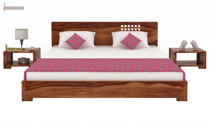 Damon Low Floor Double Bed (Queen Size, Teak Finish)-2