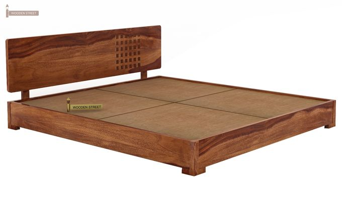 Damon Low Floor Double Bed (Queen Size, Teak Finish)-4