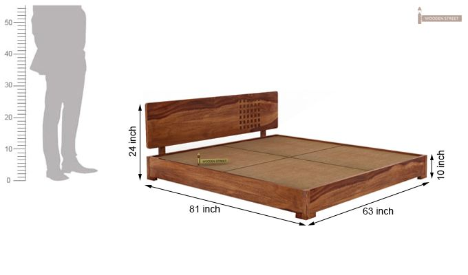 Damon Low Floor Double Bed (Queen Size, Teak Finish)-5