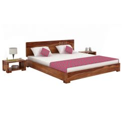 Damon Low Floor Double Bed (Queen Size, Teak Finish)
