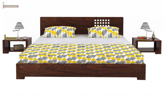 Damon Low Floor Double Bed (Queen Size, Walnut Finish)-2