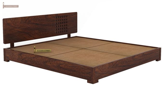 Damon Low Floor Double Bed (King Size, Walnut Finish)-4