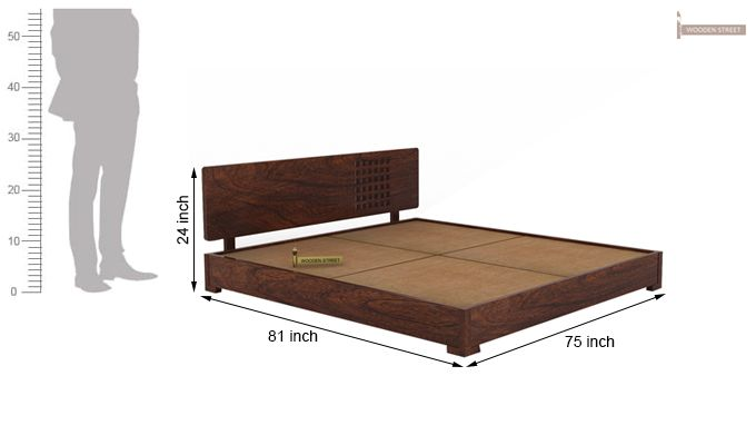 Damon Low Floor Double Bed (King Size, Walnut Finish)-5