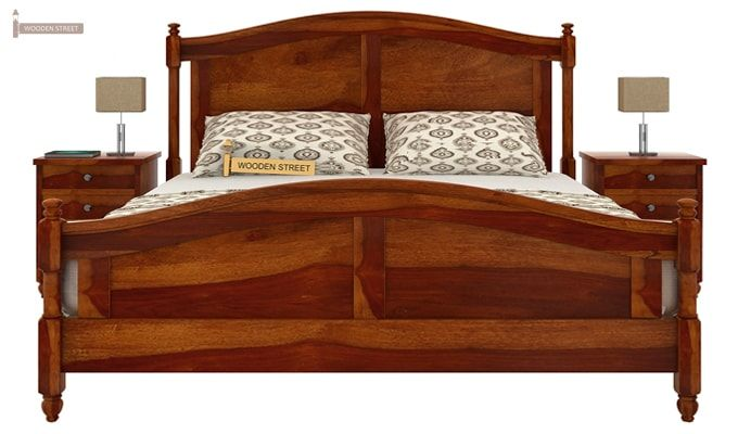 Dela Bed Without Storage (King Size, Honey Finish)-2