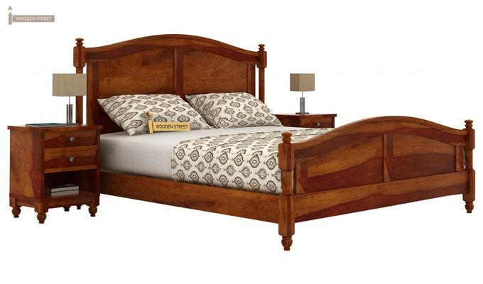 Dela Bed Without Storage (King Size, Honey Finish)-3