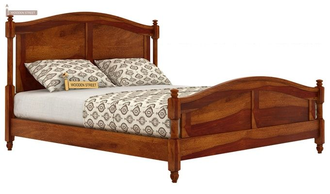 Dela Bed Without Storage (King Size, Honey Finish)-4