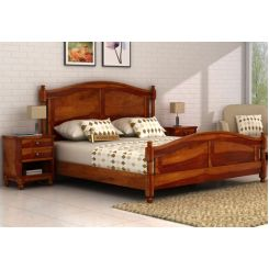 Dela Bed Without Storage (Queen Size, Honey Finish)