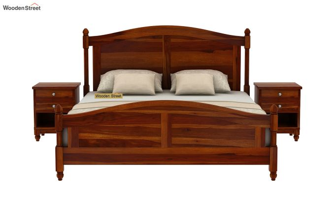 Dela Bed Without Storage (Queen Size, Honey Finish)-3