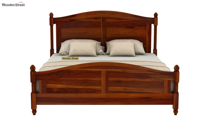 Dela Bed Without Storage (Queen Size, Honey Finish)-5