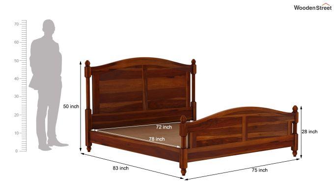Dela Bed Without Storage (King Size, Honey Finish)-7