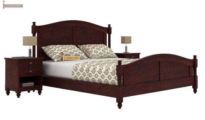 Dela Bed Without Storage (Queen Size, Mahogany Finish)-1