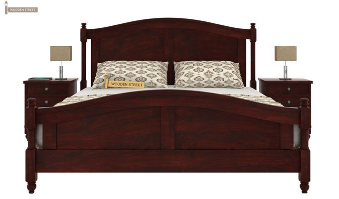 Dela Bed Without Storage (Queen Size, Mahogany Finish)-2