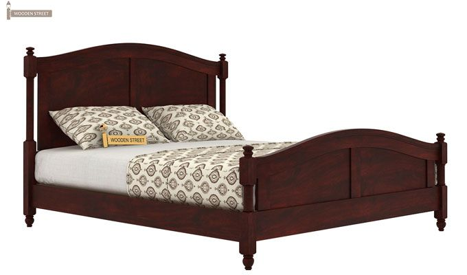 Dela Bed Without Storage (Queen Size, Mahogany Finish)-3