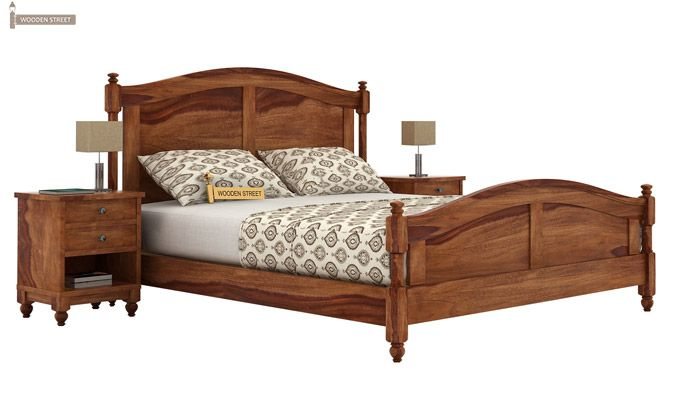 Dela Bed Without Storage (King Size, Teak Finish)-1