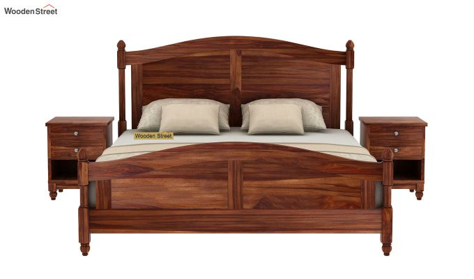 Dela Bed Without Storage (Queen Size, Teak Finish)-3