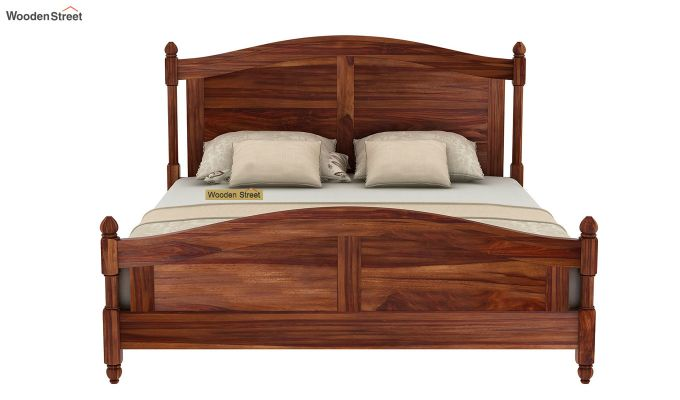Dela Bed Without Storage (Queen Size, Teak Finish)-5