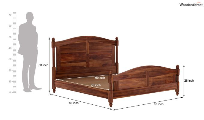Dela Bed Without Storage (Queen Size, Teak Finish)-7
