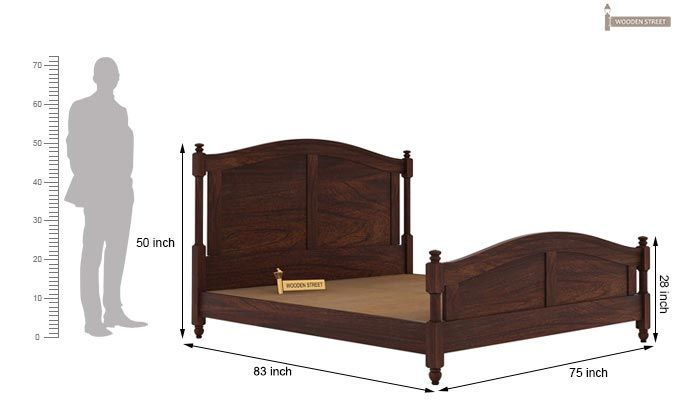 Dela Bed Without Storage (King Size, Walnut Finish)-5