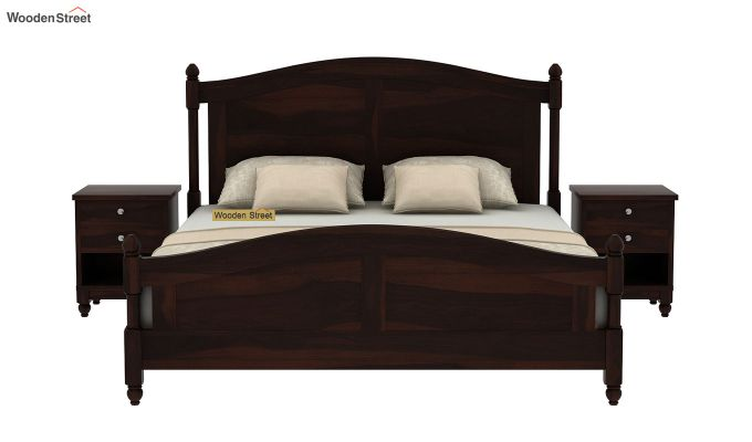 Dela Bed Without Storage (King Size, Walnut Finish)-3