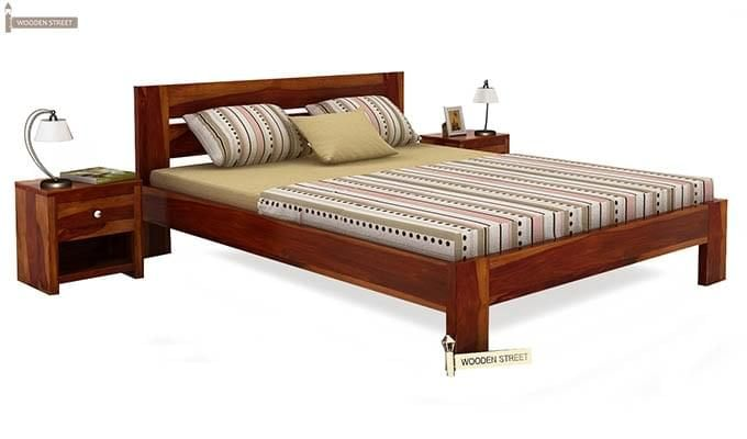 Denzel Bed without Storage (King Size, Honey Finish)-1