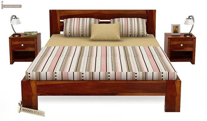 Denzel Bed without Storage (Queen Size, Honey Finish)-2