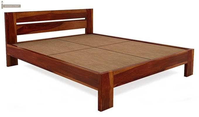 Denzel Bed without Storage (King Size, Honey Finish)-5