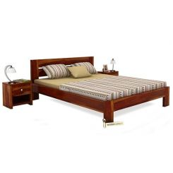 Denzel Bed without Storage (Queen Size, Honey Finish)