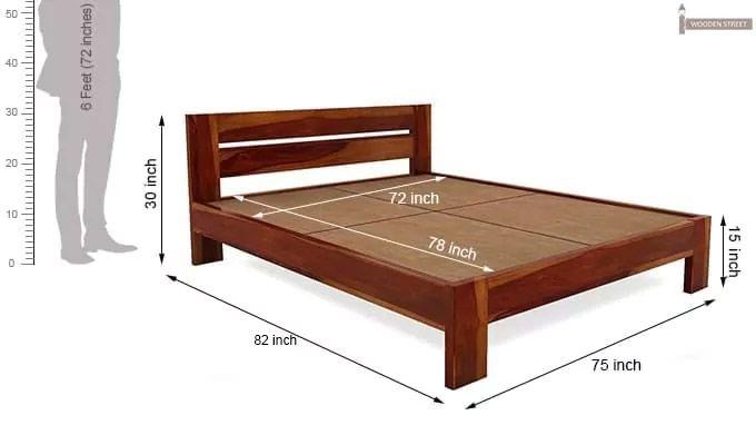 Denzel Bed without Storage (King Size, Honey Finish)-7