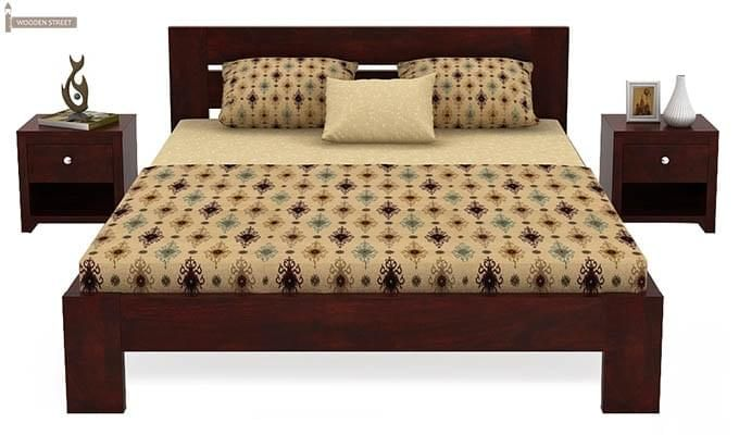 Denzel Bed without Storage (Queen Size, Mahogany Finish)-2