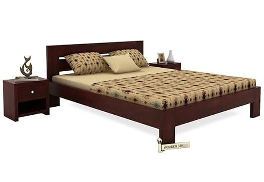 King sized double Bed Without Storage in Mahogany Finish