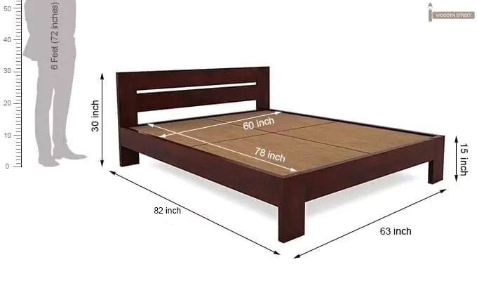 Denzel Bed without Storage (Queen Size, Mahogany Finish)-7