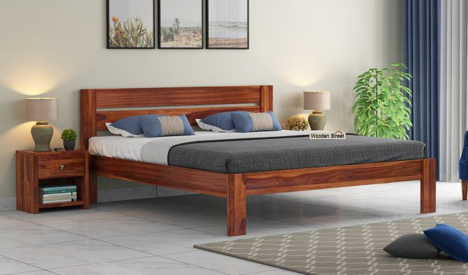 Denzel Bed without Storage (Queen Size, Honey Finish)-1