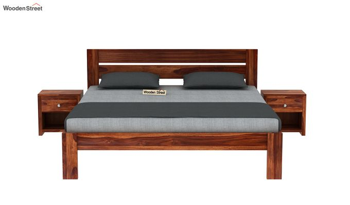 Denzel Bed without Storage (Queen Size, Honey Finish)-3
