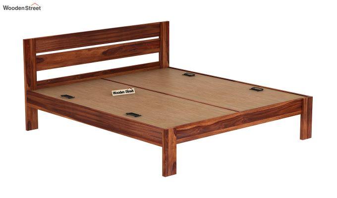 Denzel Bed without Storage (King Size, Honey Finish)-6