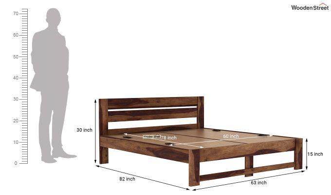 Denzel Bed without Storage (Queen Size, Teak Finish)-7