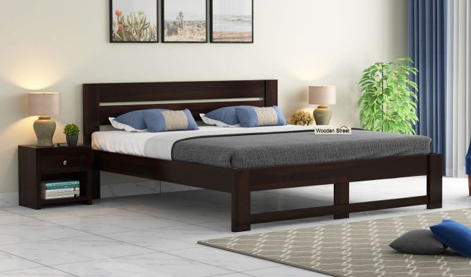 Denzel Bed without Storage (Queen Size, Walnut Finish)-1