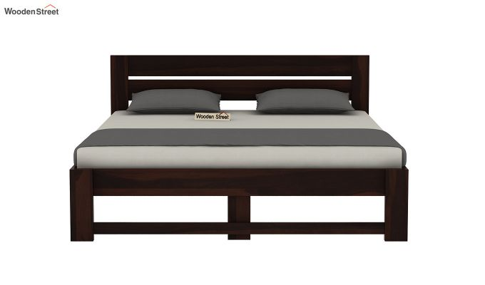 Denzel Bed without Storage (Queen Size, Walnut Finish)-5