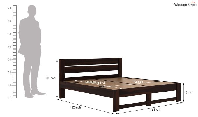 Denzel Bed without Storage (King Size, Walnut Finish)-7