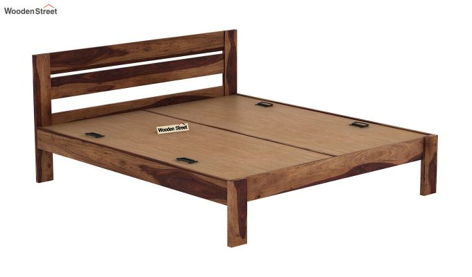 Denzel Bed without Storage (King Size, Teak Finish)-5