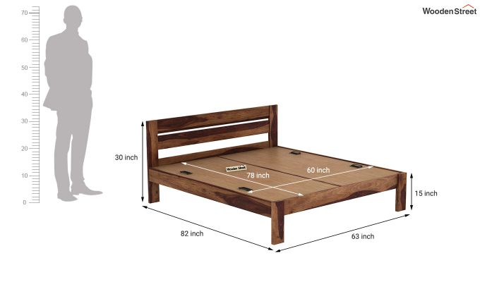 Denzel Bed without Storage (Queen Size, Teak Finish)-6