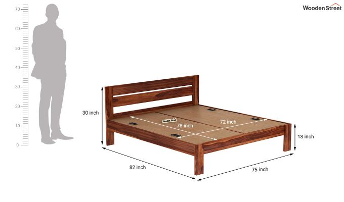 Denzel Bed without Storage (King Size, Honey Finish)-7