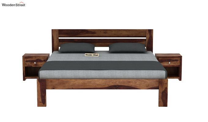 Denzel Bed without Storage (Queen Size, Teak Finish)-3
