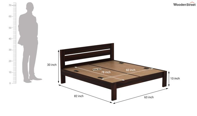 Denzel Bed without Storage (Queen Size, Walnut Finish)-7