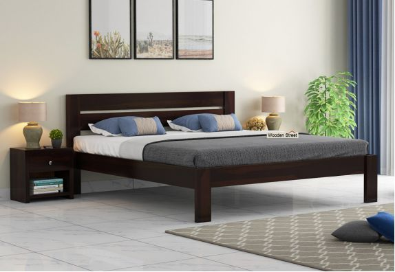 Wooden King size bed designs online mumbai, buy sheesham wood double beds with storage