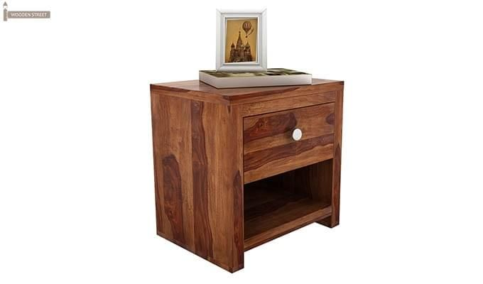 Denzel Bedside Table (Teak Finish)-3